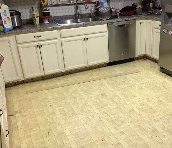 kitchen floor and cabinets