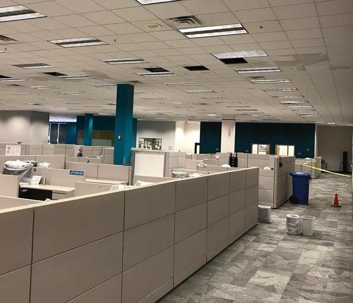 large room with cubicles