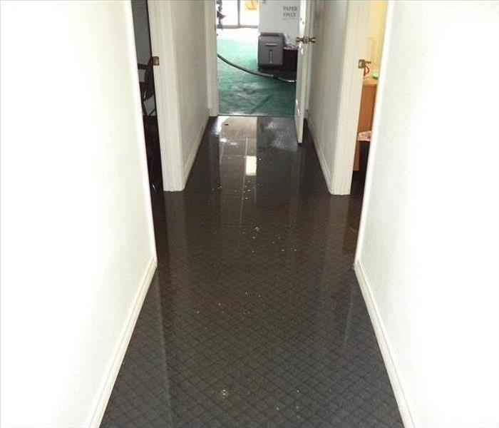 water on hall carpet